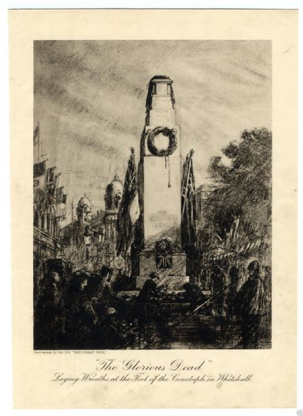 1919 WW1 Print CENOTAPH IN WHITEHALL The Glorious Dead DE GRINEAU PHOTOGRAVURE (1)